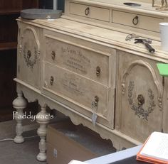 Old White Chalk Paint® - Artisan Enhancements Transfer Gel.  This Buffet was created by one of our Vendors, Cindy P.