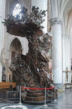 The pulpit of Saint Rombouts Cathedral in Mechelen. This pulpit of oak is carved by Michiel van der Voort, the Elder (1667-1737) in 1721-1723