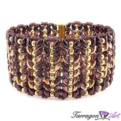 Bransoletka Beaded Elegance - Amethyst, Copper & Gold - Beaded Elegance / Bransoletki - Tarragon Art - stylowa biżuteria artystyczna