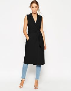 ASOS+Sleeveless+Shirt+Dress+with+Belted+Wrap+Front