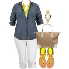 """""""Summer Crops - Plus Size"""" by alexawebb on Polyvore"""