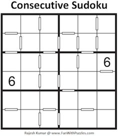 Consecutive Sudoku Puzzles is Converse Sudoku rules Sudoku type which is loved by kids, teens and adults. I have created many Mini Consecutive Sudoku puzzles recently which I am publishing now on my website Fun with Puzzles. Printable Puzzles For Kids, Sudoku Puzzles, Teacher, Mini, Board, Professor, Teachers, Planks