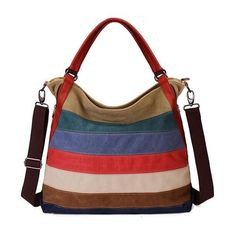 Women Stripe Casual Canvas Large Capcity Crossbody Bag