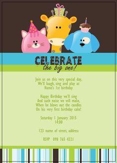 BFY_001 First Birthday Cakes, Happy Birthday, Invite, Invitations, Special Day, First Birthdays, Monkey, How To Make, Happy Brithday