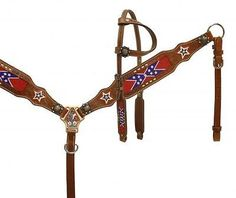 Bridles and Headstalls 3177: Showman Single Ear Red White Blue Beaded Flag Headstall Breast Collar Set -> BUY IT NOW ONLY: $89.95 on eBay!