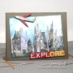 Jeanne Streiff: Sizzix Tim Holtz Cityscape, Skyline Die Set and Cityscape, Commute Die Set; Tim Holtz Dies, Skyline, Penny Black, Travel Themes, Card Sketches, Masculine Cards, Cool Cards, Copic, I Card