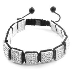 Silver Macrame Shamballah Bracelet with 13 Iced Out Rectangles JOTW. $9.95. 100% Satisfaction Guaranteed!. Unique adjustable pull string cobra stitched lanyard design. Great Quality Jewelry! Lanyard Designs, Jewelry Bracelets, Men's Jewelry, Macrame, Crochet Necklace, Unique, Silver, Accessories, Crochet Collar