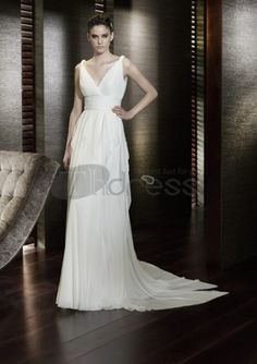 White goddess wedding dress with A-line silhouette and floor length. Deep V-neck plunges into ruched waist while chiffon skirt creats air-fair style. Free made-to-measurement service for any size. Available colors seen as in Color Options. San Patrick, Chiffon Wedding Gowns, Wedding Dresses 2014, Cheap Wedding Dress, Wedding Attire, Grecian Wedding, Gown Wedding, Lace Wedding, Bridal Outfits