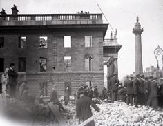 Dublin's GPO and Nelson's Pillar immediately after the Easter Rising of 1916