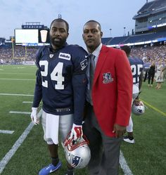 Darrelle Revis with Patriots Hall of Famer Ty Law