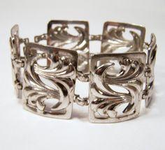 Vintage WRE Sterling Silver Wide Bracelet Art by GretelsTreasures