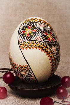Ornamental Easter egg made of real chicken egg.