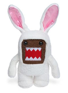 Spring Bunny Domo Plush :: ThinkGeek Putting Domo in your Easter basket may result is mysterious loss of chocolate.