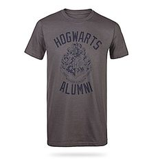 "Hogwarts Alumni Shirt @ ThinkGeek. WANT. And the description, lol. ""House loyalty is good and everything, but when you're hanging out with friends from Beauxbatons Academy of Magic or Durmstrang Institute, the important bit is that you're there representing Hogwarts. Make us look good."""