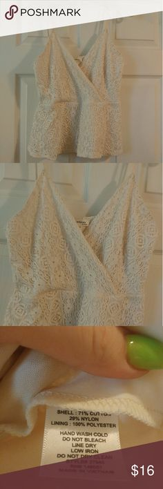 Monteau | cream lace peplum tank top Large  Juniors  On the shorter side  Would look adorable with a pencil skirt, high waist anything   Monteau brand  Like new, worn a few times!   Adjustable straps Monteau Tops Tank Tops