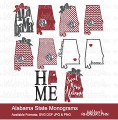 SALE! Alabama State Monogram | Alabama SVG dxf jpg png cut files | Sweet Home Alabama SVG | Alabama State Digital Download | Alabama Home