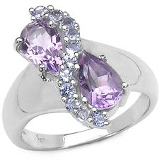 Malaika 1.87 Carat Amethyst and Tanzanite .925 Sterling Silver Ring ($36) ❤ liked on Polyvore featuring jewelry, rings, blue, blue tanzanite rings, long rings, round cut rings, wide band rings and enhancer ring