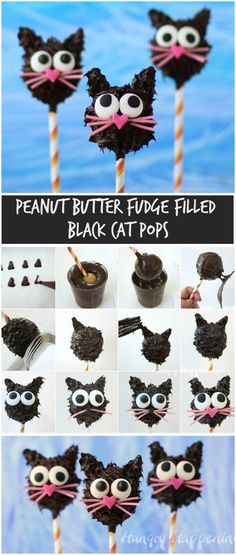 Halloween Cake Pops Ideas: Black Cat Pops Make the ultimate Halloween desserts and treats perfect for adults and kids alike with these creative and easy Halloween cake pops ideas! Halloween Cake Pops, Halloween Desserts, Easy Halloween, Halloween Treats, Halloween Baking, Peanut Butter Chips, Creamy Peanut Butter, Crinkle Cookies, Cake Form