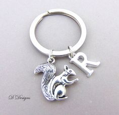 Squirrel Eating in Winter Heart Love Metal Keychain Key Chain Ring