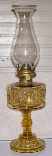 Pittsburgh PA Amber Glass EAPG Two Panel Oil Lamp Burner & Chimney