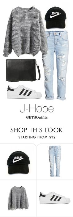 """Theater with J-Hope"" by btsoutfits ❤ liked on Polyvore featuring H&M, adidas Originals and MANGO"
