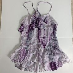 Free People purple/grey/white tie-dyed camisole Purple, grey, and white tie-dyed halter camisole with ruffles and bead detail by Free People. Excellent condition, no damage, just a little too big for me. Super sexy and great for layering! I'm open to offers & give bundle discounts! ☮❣✌️ Free People Tops Camisoles