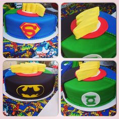 A Justice League themed cake! Flash lightening bolt is made out of Rice Krispies and covered in fondant!!