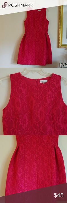 CALVIN KLEIN RED DRESS CALVIN KLEIN RED sleeveless dress brand new without tag this material is heavy.zipper on the back Calvin Klein Dresses Midi