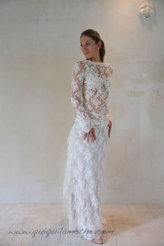 Robe de mariée en dentelle de Calais bohème romantique.