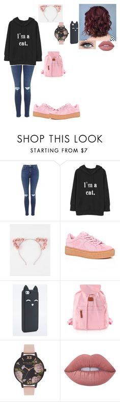 """""""Cat 😺"""" by look-love-jinyoung ❤ liked on Polyvore featuring Full Tilt, Cape Robbin, Bric's, Olivia Burton and Lime Crime"""