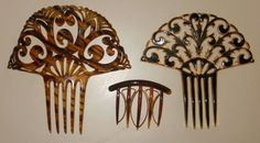 Lot of 3 Antique Vintage LG Mantilla Hair Comb | eBay