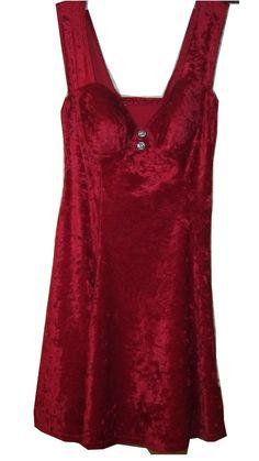 Glamorous Red Crushed Velvet Marilyn Monroe Swing Dress w/Built-in Bra