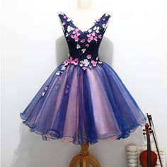 Navy V-neck Colorful Applique Sleeveless Organza Lace Beaded Homecoming Dresses, HD035