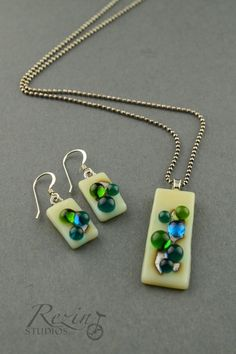Blue and Green Bubble Necklace and Earring Set by RezinStudios