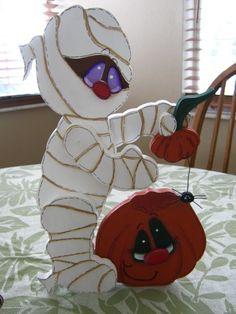 Mummy Pumpkin Halloween Decoration by Gourdsandgifts on Etsy, $18.99