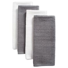 DII Cotton Luxury Ribbed Terry Dish Towels, 16 x Set of Ultra-Absorbent Cleaning Drying Kitchen Towels-Gray/White Top 10 Christmas Gifts, Basic Kitchen, Simple Colors, Solid Colors, Cat Decor, Small Dining, Cotton Towels, Dish Towels, Towel Set