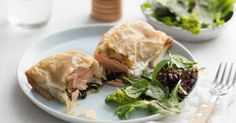 Wrapped in golden filo pastry, these pesto salmon parcels make for a delicious dinner or easy lunch.