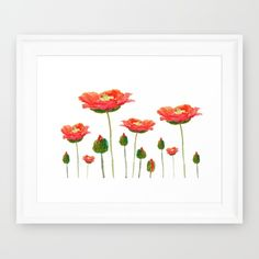 red+poppy+Framed+Art+Print+by+Color+And+Color+-+$34.00