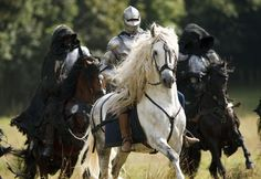 Knights on Horseback #white #black #horses #fantasy #medieval
