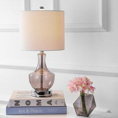 Colette 20 Mini Glass Table Lamp, Smoked Glass by Jonathan Y, Grey