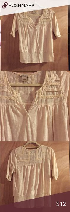 Cream colored mid sleeve shirt Lucky Brand cream shirt, soft fabric. Tag says large but fits like a small. Some lace detailing on the top. Great for fall days! Lucky Brand Tops Blouses