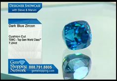 7ct blue zircon in a cushion cut for sale