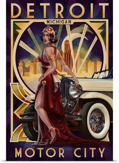 Detroit, Michigan - Deco Woman and Car: Retro Travel Poster