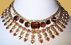 Rhinestone Layered Bib Necklaces Orange Citrine Rootbeer Color Gold Metal Big & Bold Designer Look Vintage