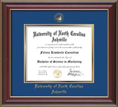 UNC Asheville U. Diploma Frame-Cherry Lacquer-w/UNCA Seal-Blue on Gold – Professional Framing Company
