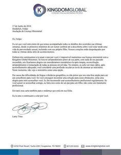 Carta de Larry Titus, do Kingdom Global Ministries (KGM), a Felipe Heiderich, o pastor pedófilo e gay.