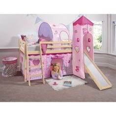 Fairies Cabin Bed with Slide, Tower, Tunnel and Tent - Create a truly magical bedroom for your little one with the Fairies cabin bed, the perfect sleep space for your very own little tinkerbell. Designed to encourage imaginative play, this solid pine mid sleeper with its bright pink fairy den is every little girl's dream! #home #kids #decor