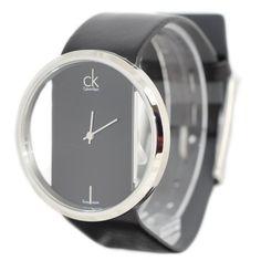 Calvin Klein Quartz, Genuine Black Leather Strap with Crystal Clear Dial - Women's Watch K9423107 Calvin Klein
