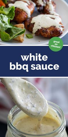 Alabama White BBQ Sauce Recipe - Taste and Tell Change things up with this tangy, flavorful White BBQ Sauce. Also known as Alabama White BBQ Sauce, this is the perfect topping for your grilled chicken. Mango Habanero Bbq Sauce Recipe, Barbecue Sauce Recipes, Grilling Recipes, Cooking Recipes, Healthy Recipes, Bbq Sauces, Smoker Recipes, Rib Recipes, Bbq Recipes Sides
