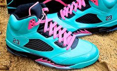 "LAWD have mercy! Air Jordan 5 ""South Beach"" Custom... ddddddd-dayum!"